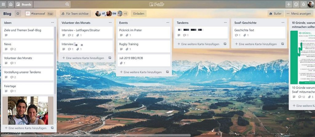 Das Trello-Board des SwaF-Blogs